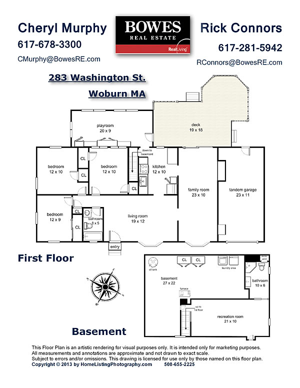 floor plan with agent's information